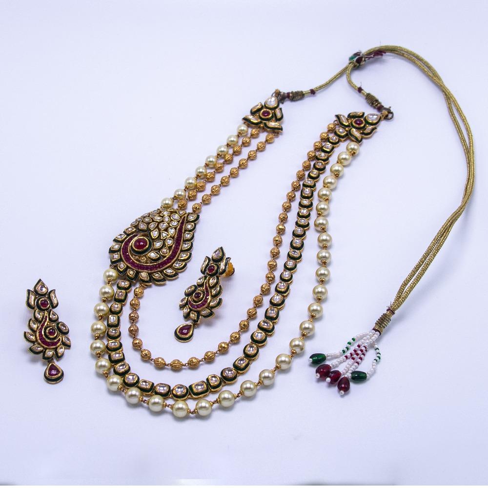 22kt gold jadtar meenakari necklace set with earrings agj-ns-02