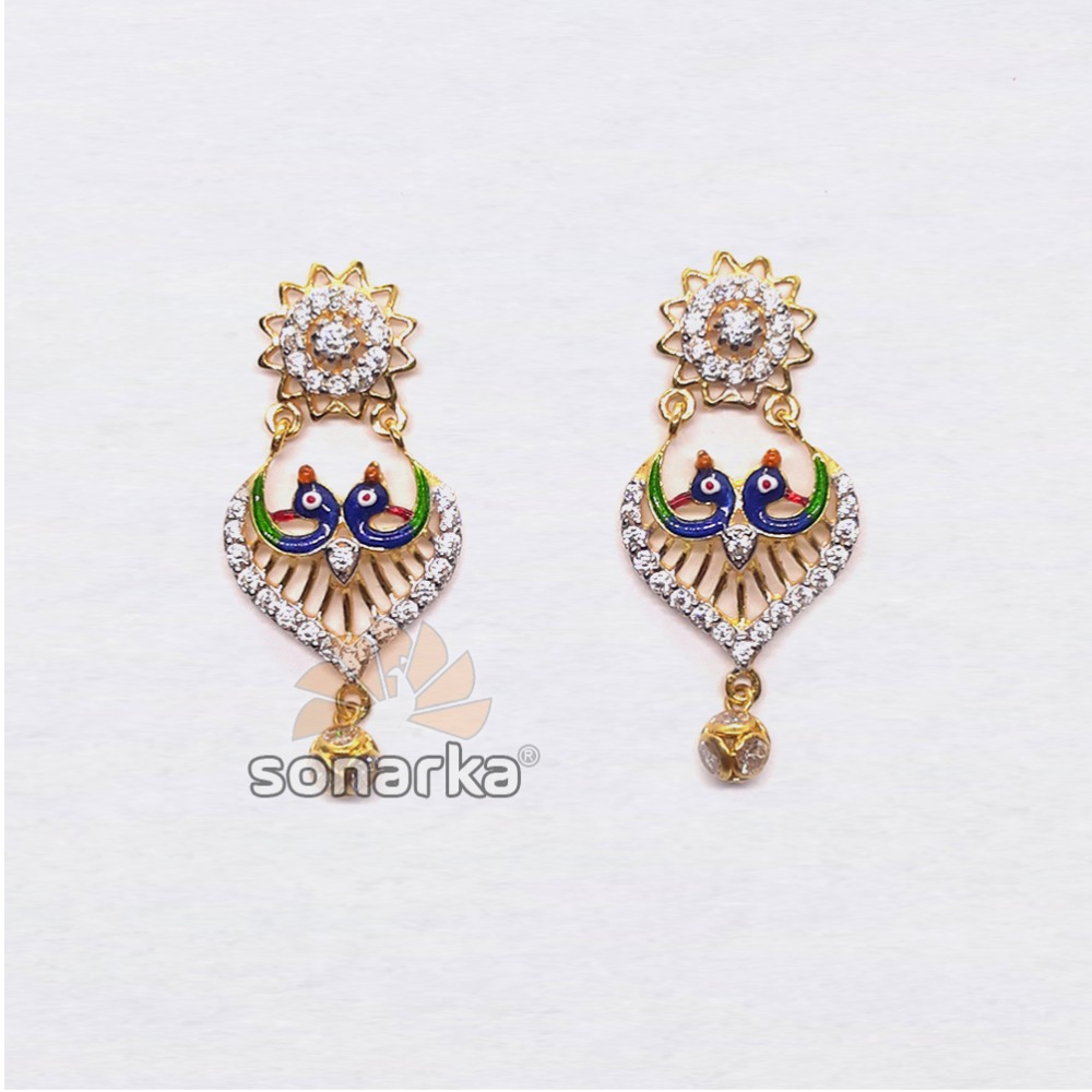 916 Gold Attractive Peacock Design CZ Diamond Earring
