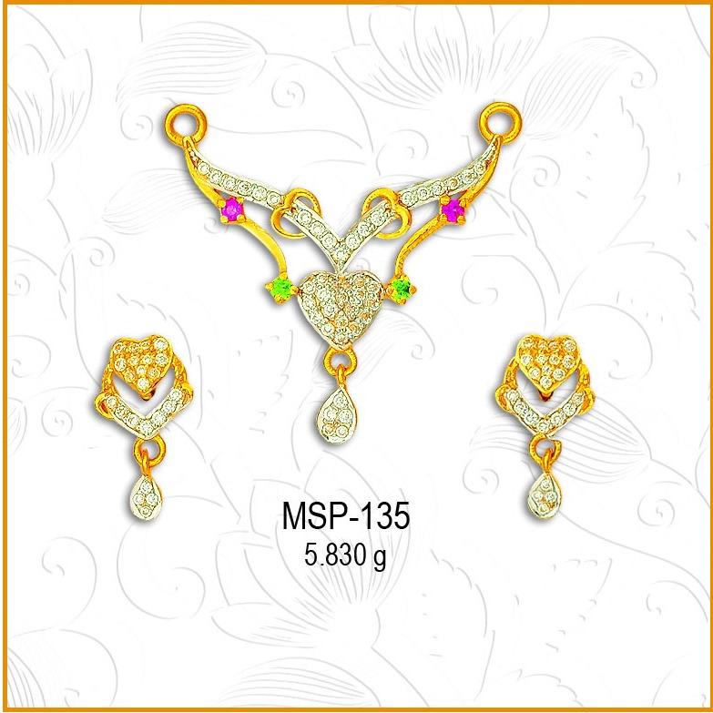 916 Gold Heart Design CZ Mangalsutra Pendant Set MSP-135