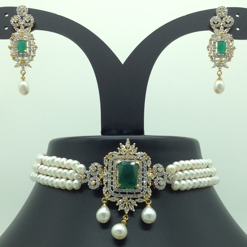 White, Green CZ And Pearls Choker Set With 3 Line Flat Pearls Mala JPS0550