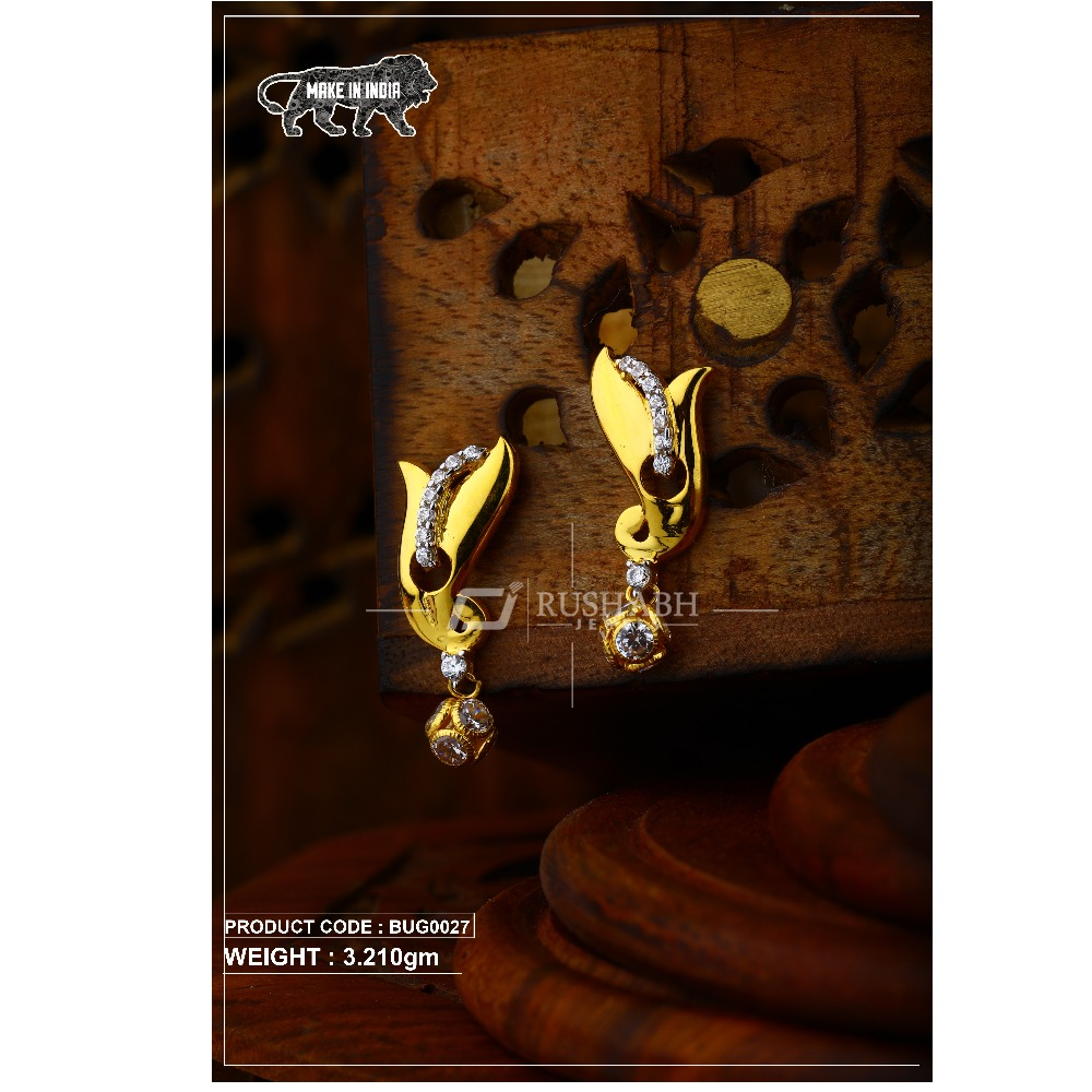 18 carat Gold ladies tops with ball  earrings bug0027