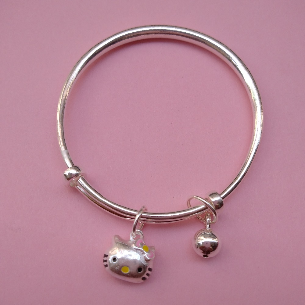 Pure silver baby Kada with Cute kitty charms (1 pair)  puran