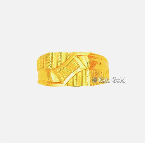 916 Gold Indian Stylish CZ Gents Ring
