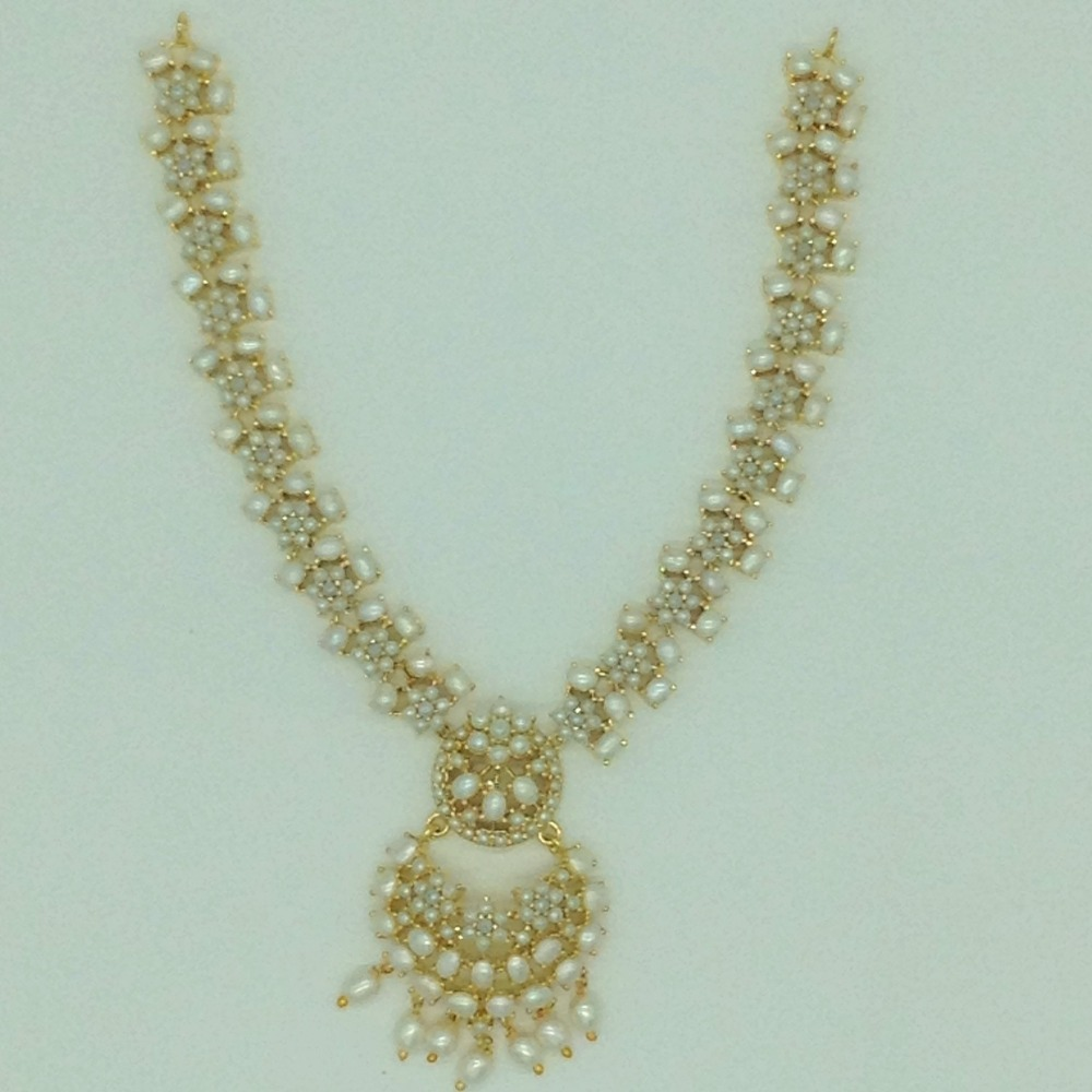 Freshwater White Button Pearls Necklace Set JNC0169