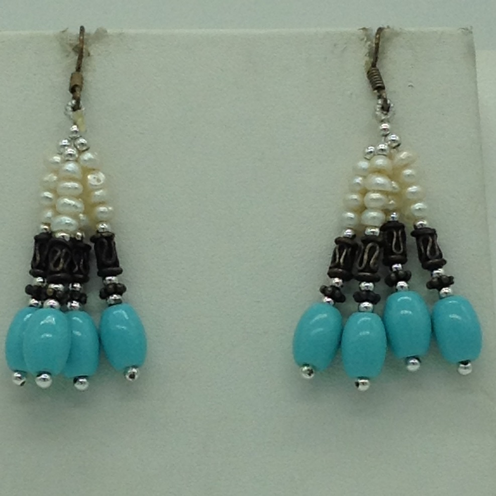 Freshwater White Pearls And Turquoise Twisted Necklace Set JPP1072