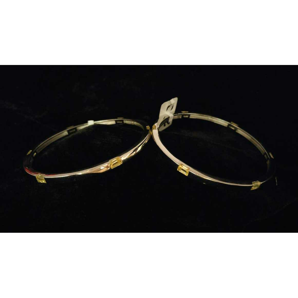 92.5 Sterling Silver Rose Gold Dimond Bangle(Kadli,Kangan,Kada,Patla) Ms-3793