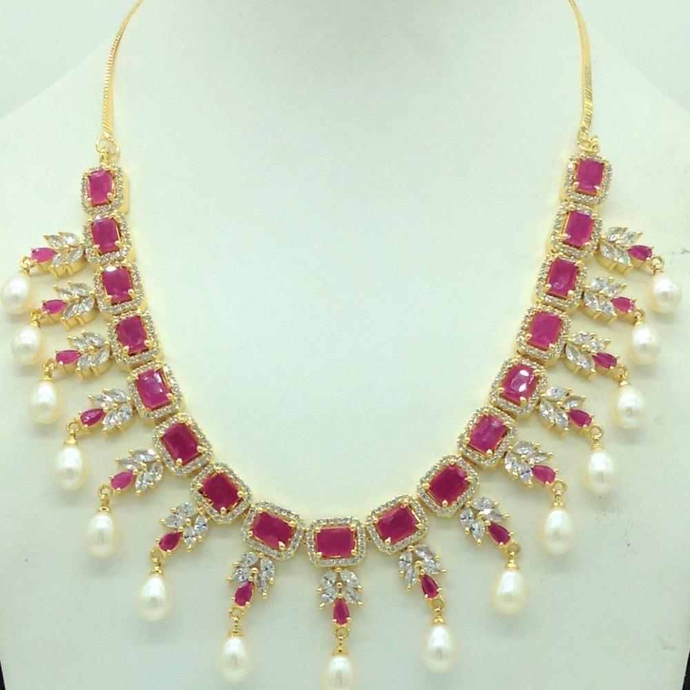 White ,RedCZ Stones And Tear Drop Pearls Necklace Set JNC0150