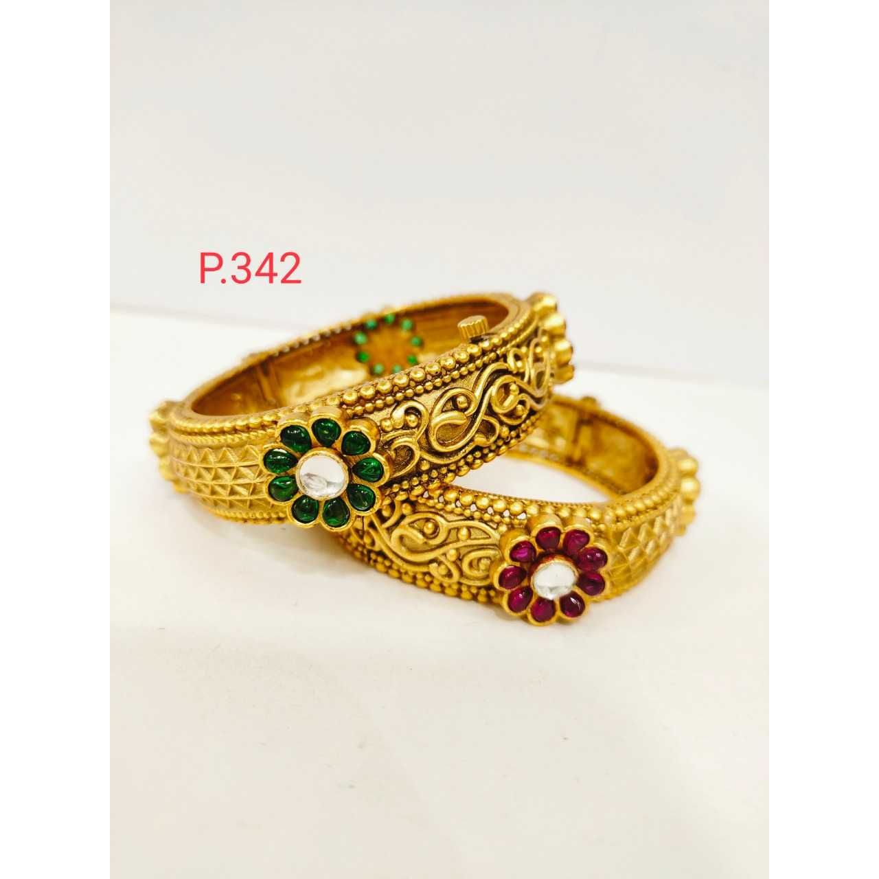 Antique gold plated nakshi flower work  green and white stone &  screw openable kada 1213