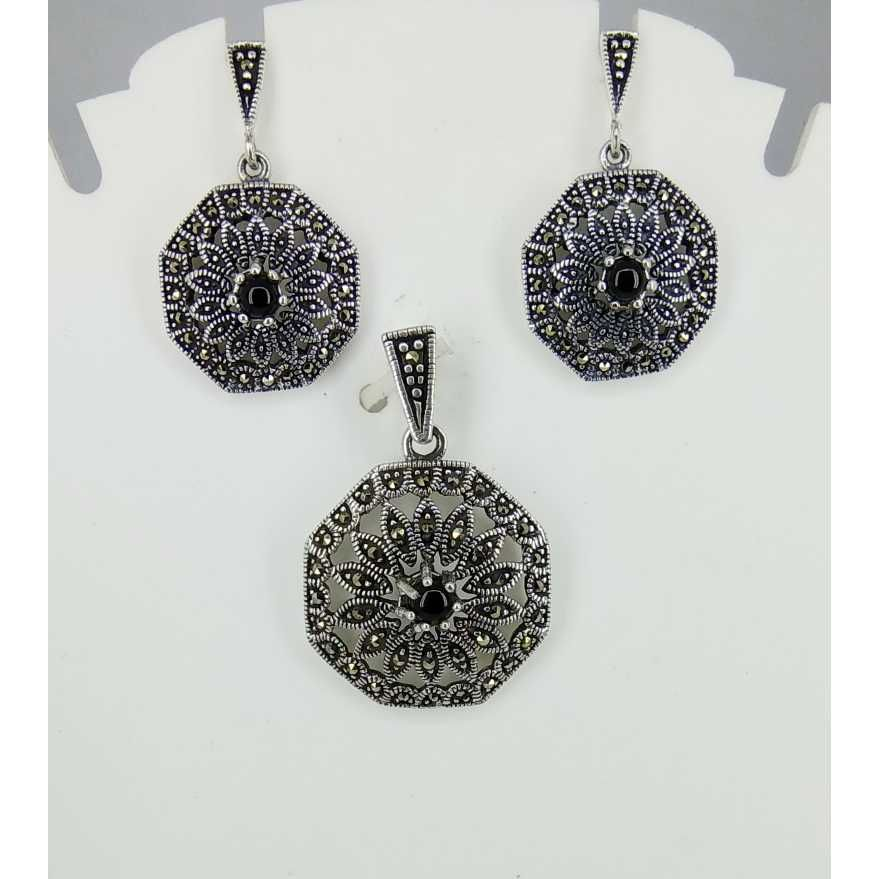 Exclusive marcasite 92.5 silver Pendant Set MG-P003