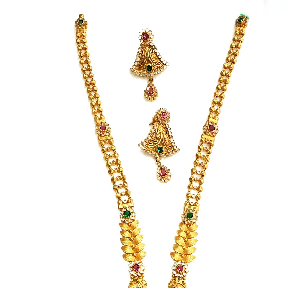 22k Gold Checkers Diamond Antique Necklace With Earrings MGA - GLS091