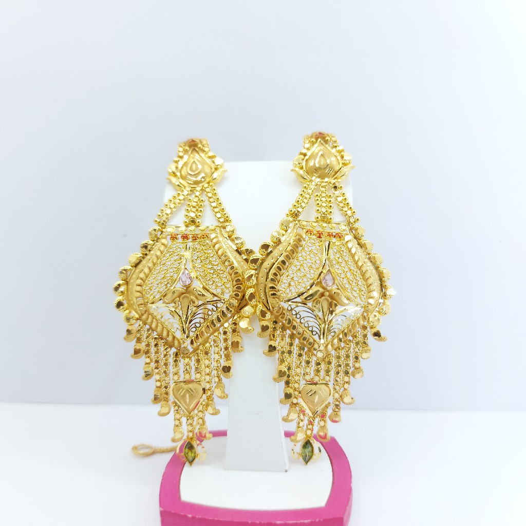 916 gold earrings with chain