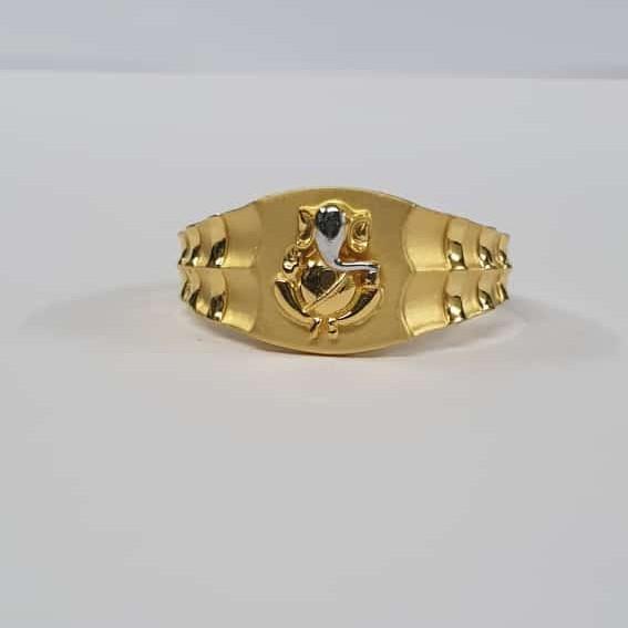 22Kt Gold Dull Polish Rodiyam Fancy Ganpati Jents Ring