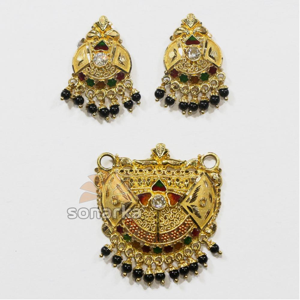 916 Hallmarked Gold Calcutti Meenakari Pendant Set with kidiya