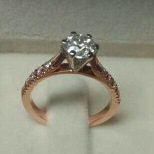 18KT Gold Rose Plated Ladies Diamond Ring