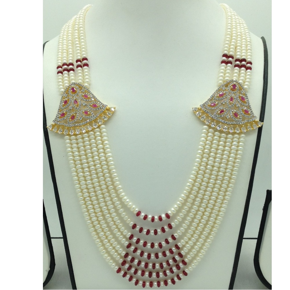 White And RedCZ BroochSet With 7Lines FlatPearls Mala JPS0672