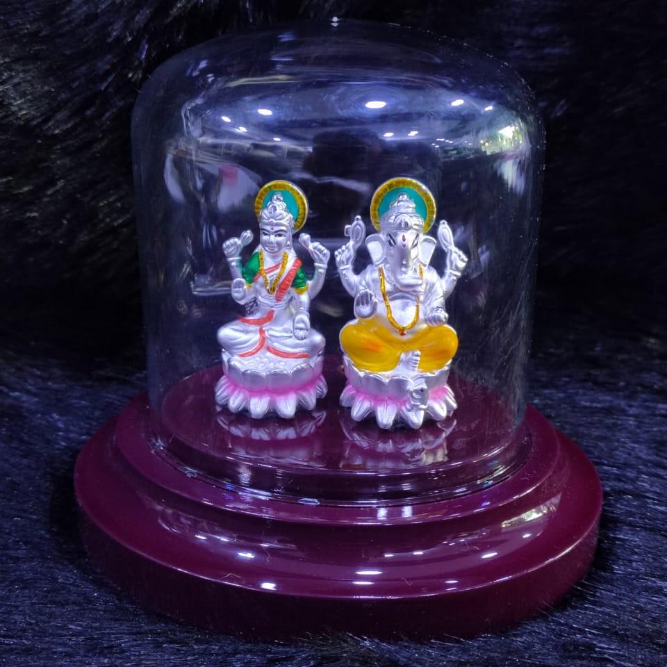 92.5 Sterling Silver Lite Weight Ganesh Laxmi Pure Silver Hollow Idol
