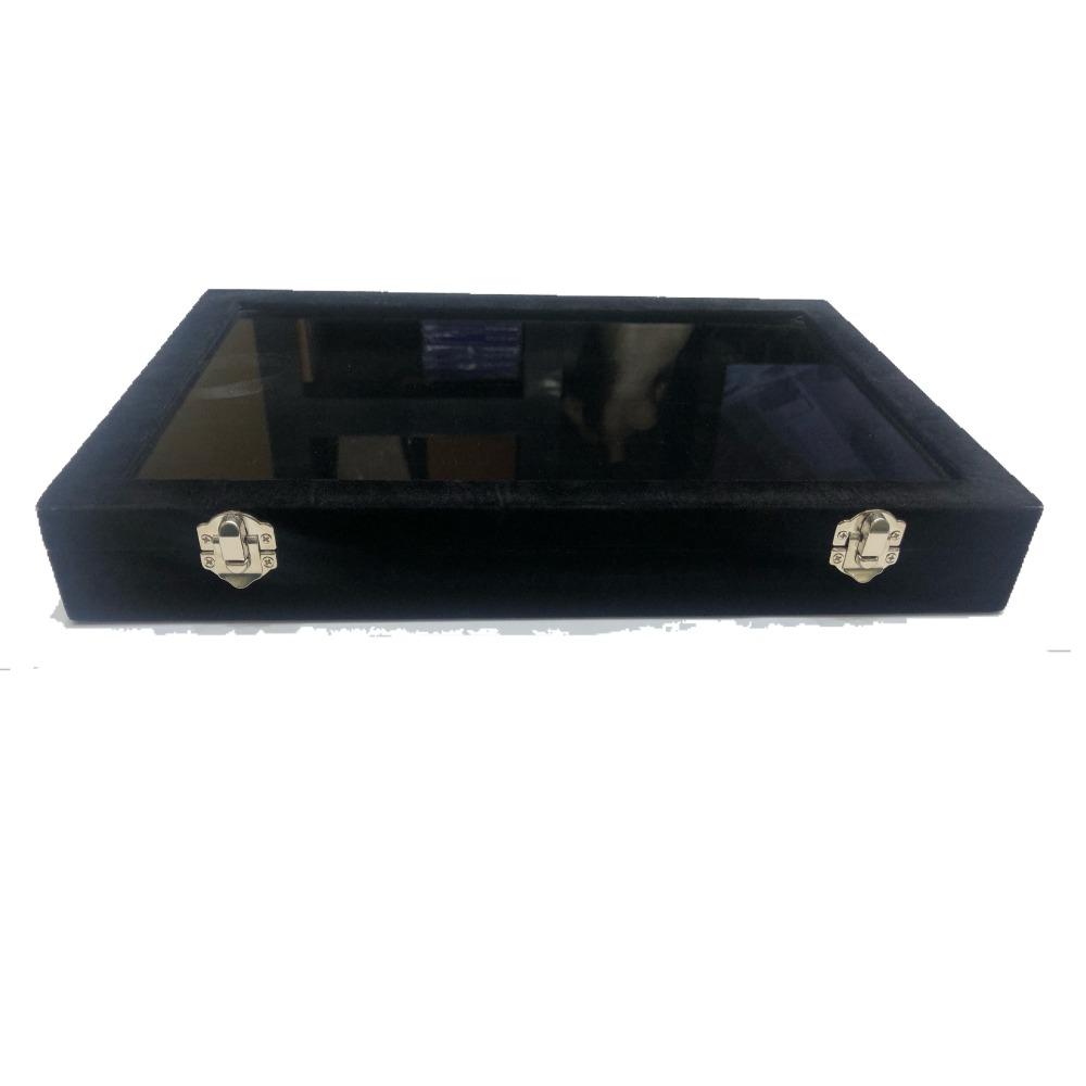 Jewellery black velvet stock box t/p