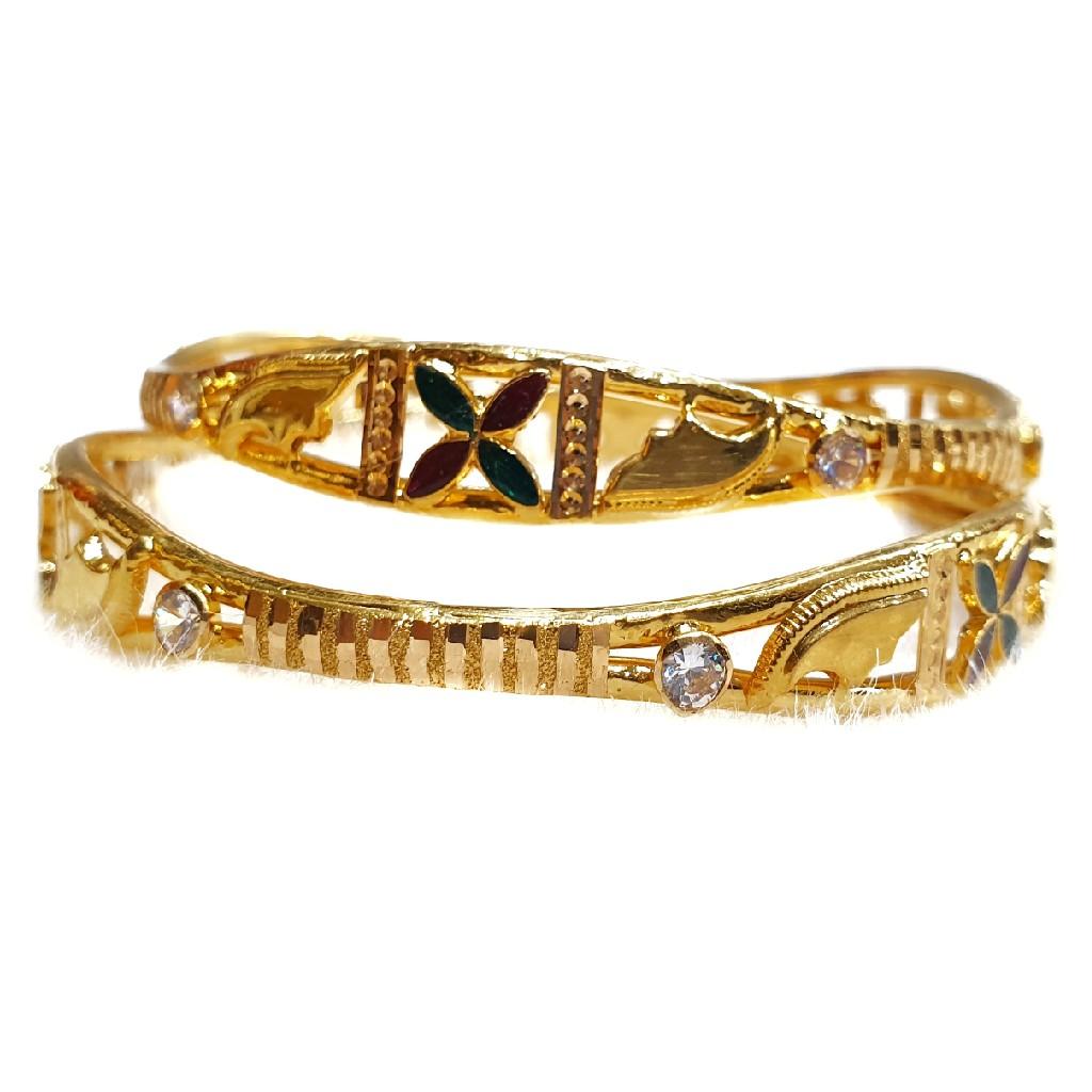 916 Gold Meenakari Copper Kadli Bangles MGA - GK032