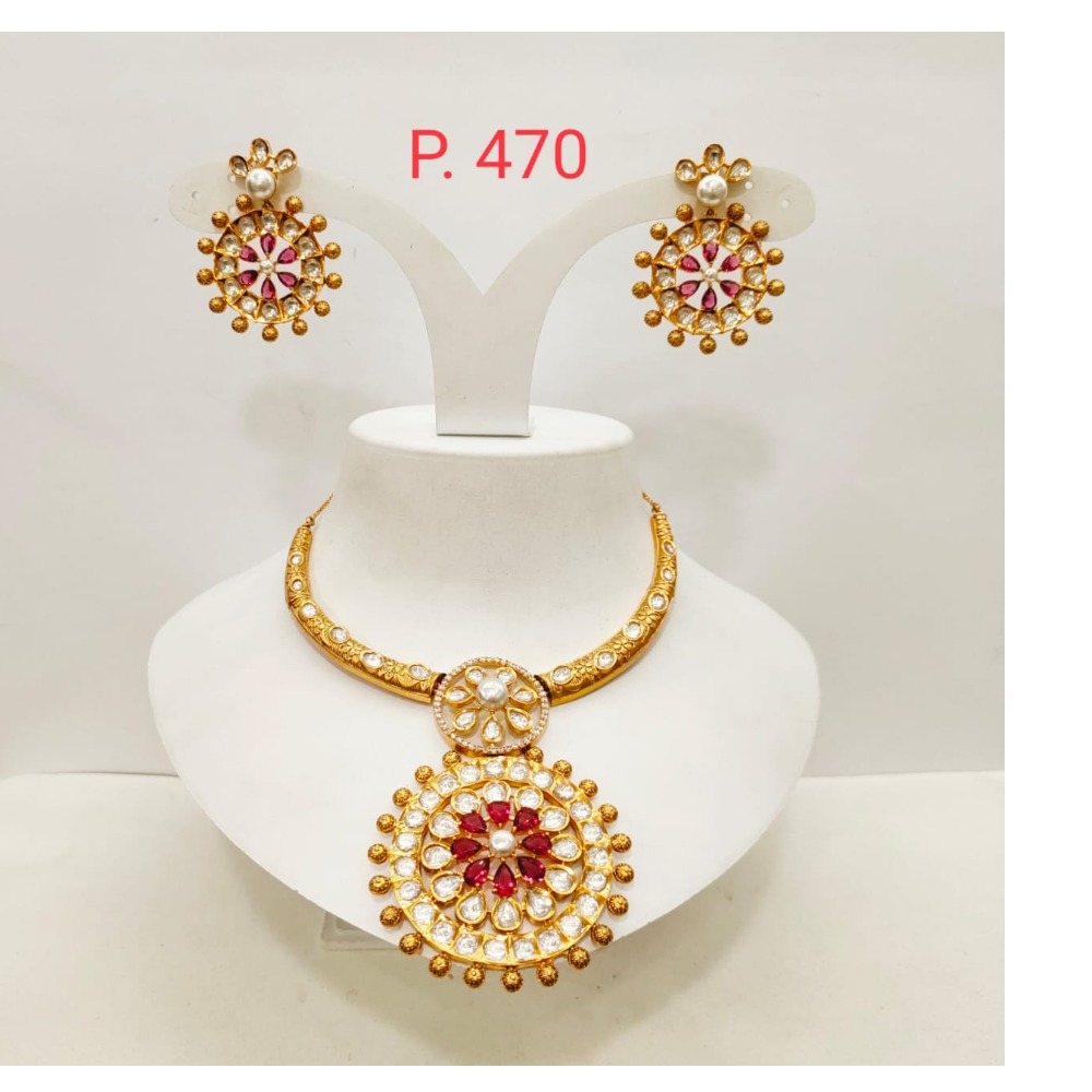 Round choker kundan work with ruby and emerald necklace set 1489