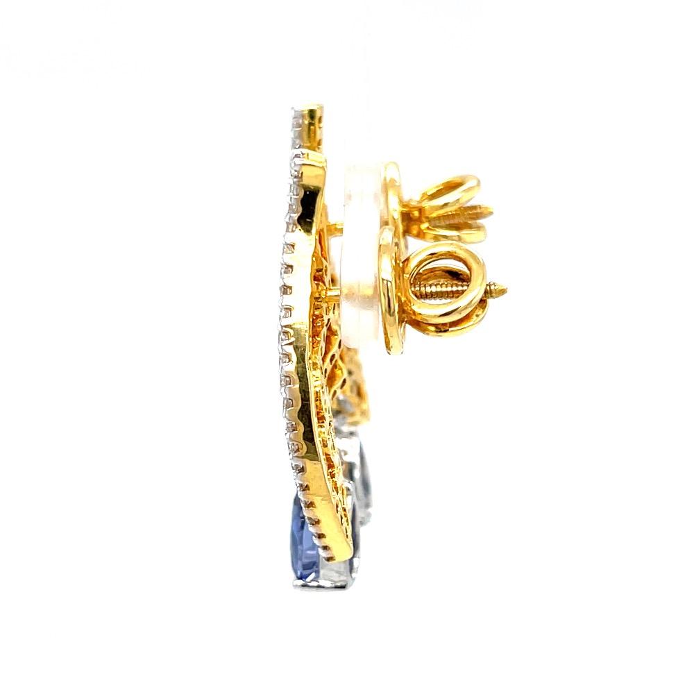 Blue stone diamond earrings in 14k yellow gold 9top94