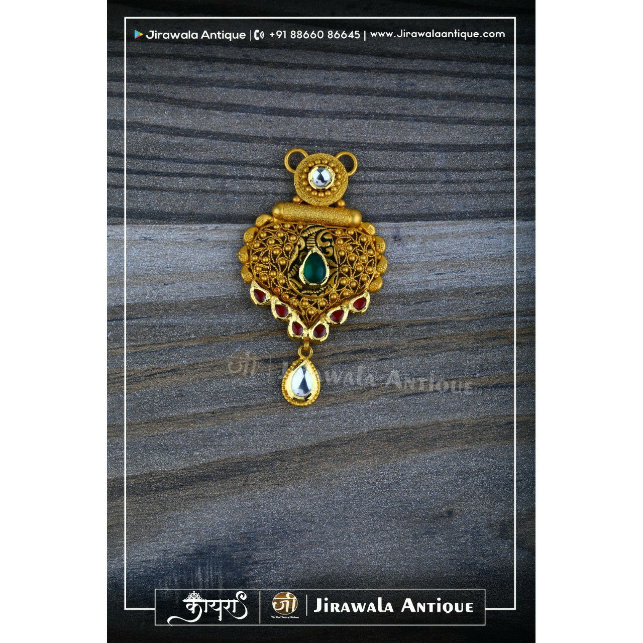 Antique gold jadau mangalsutra pendant with beni work.