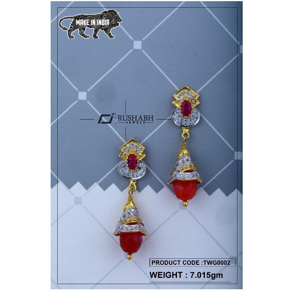 18 carat Gold ladies zummer  tops  long earrings  twg0002