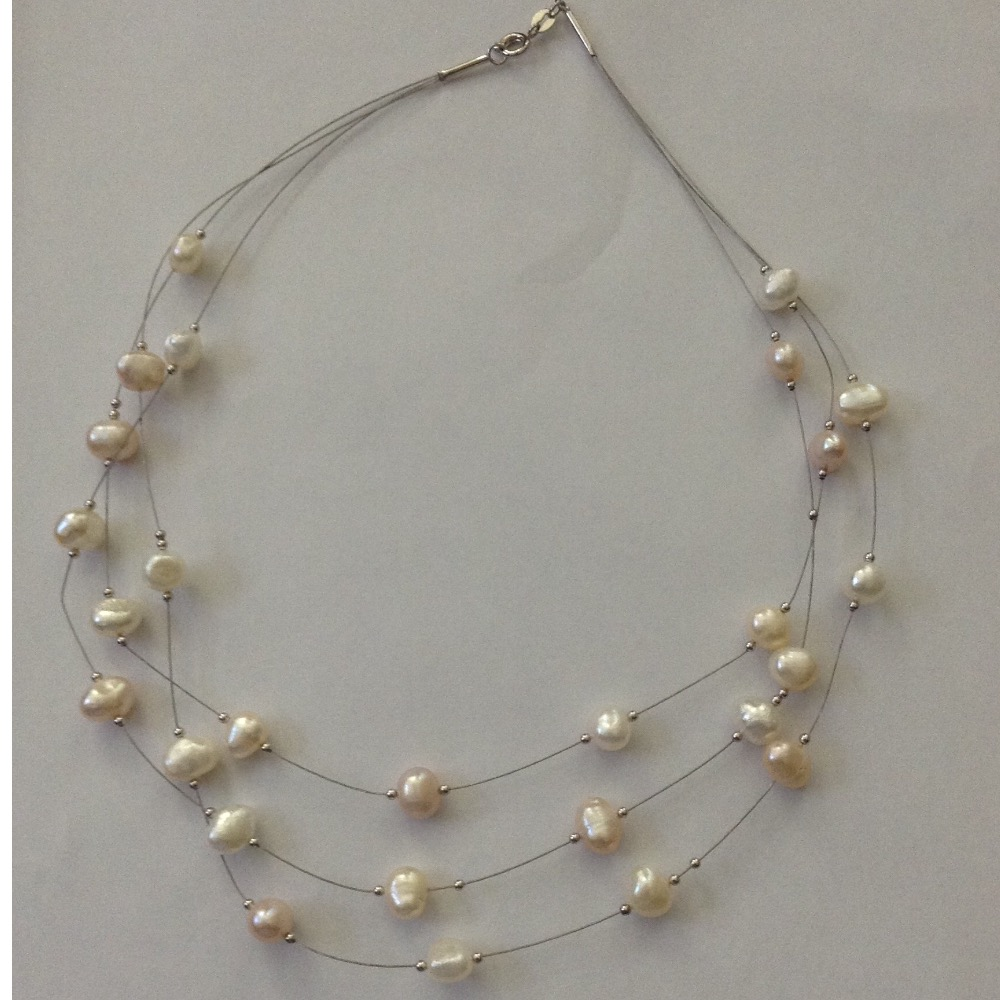 Freshwater White Pink Potato Pearls 3 Layers Wire Necklace