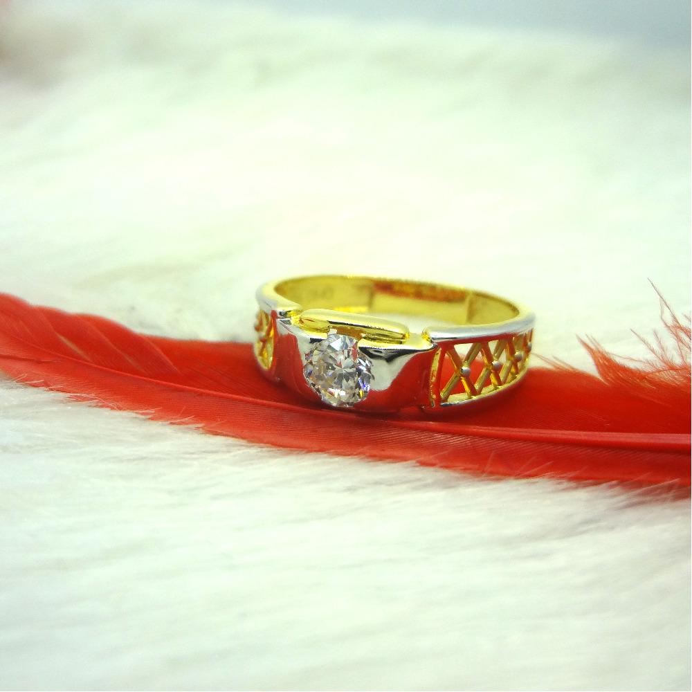 916 gold cz diamond solitaire gents ring