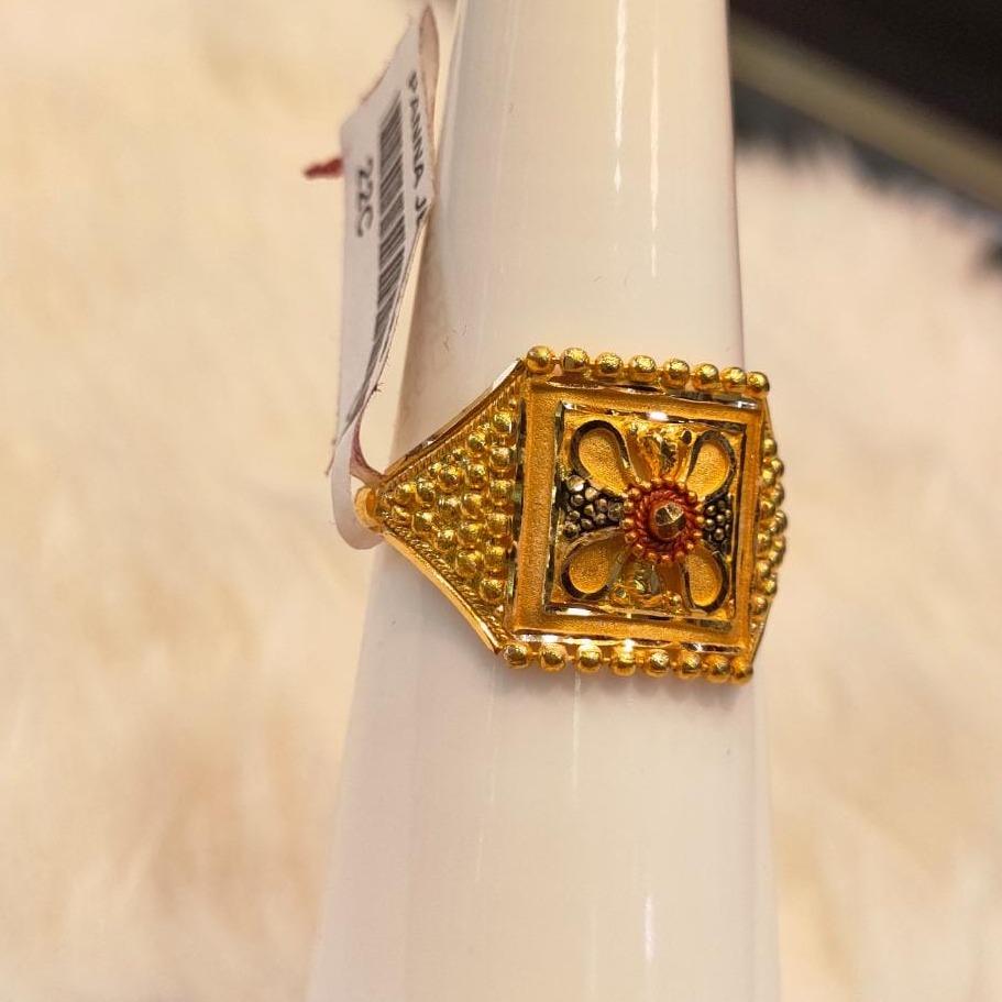 916 Gold Hallmark Square Design ring