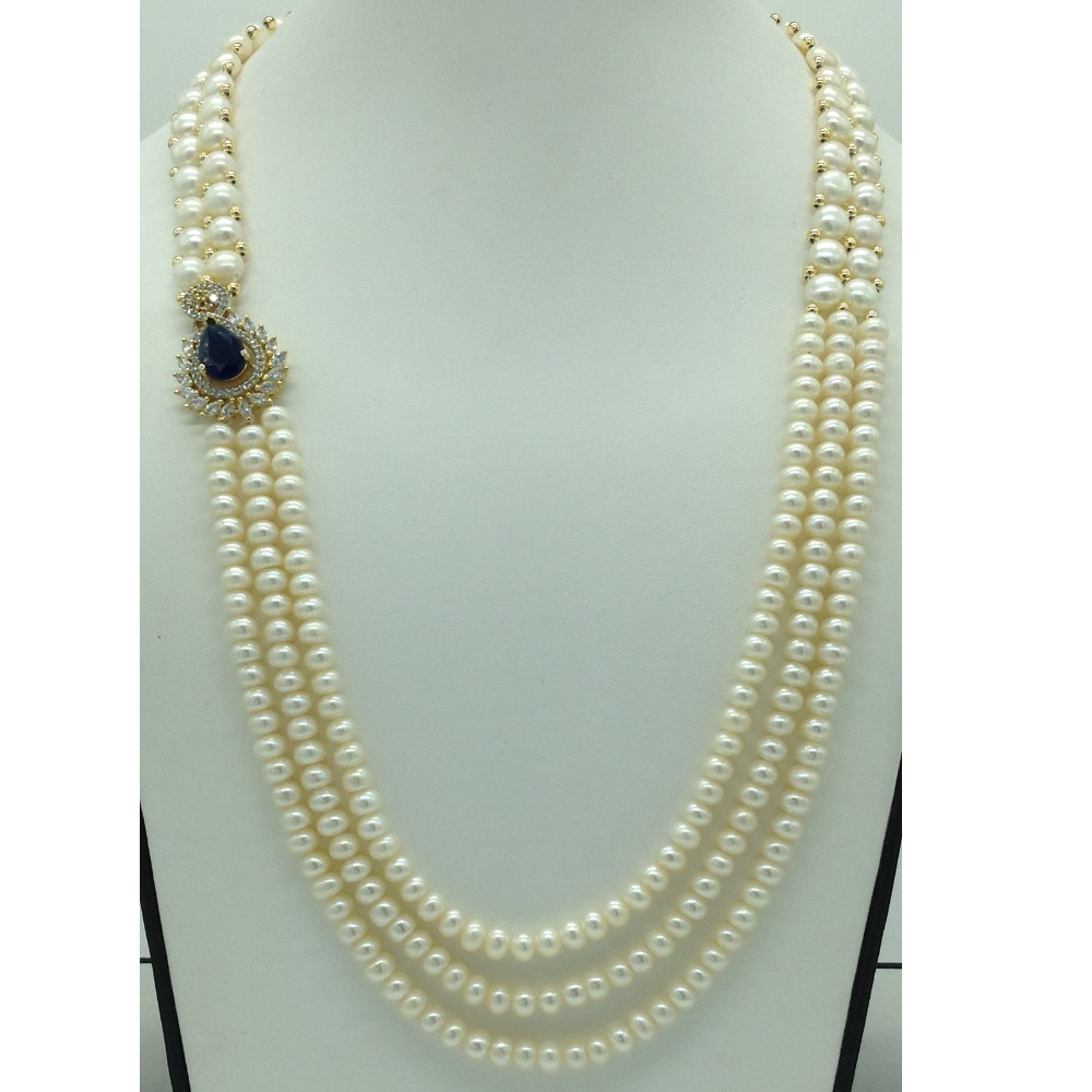 Blue And White CZ BroachSet With 3 Line Flat Pearls Mala JPS0660