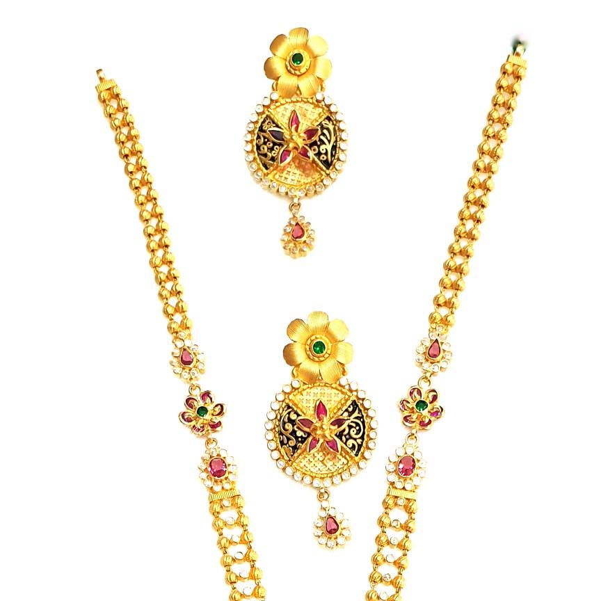 916 Gold Round Shape Checkers Diamond Necklace Set MGA - GLS087