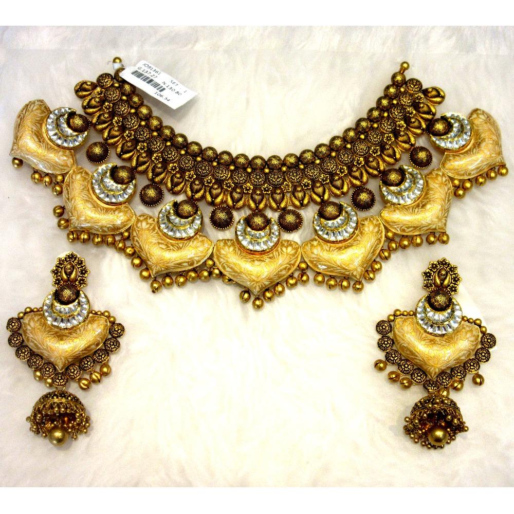 Gold 22k Antique Jadtar Bridal Heavy Designer Necklace Set