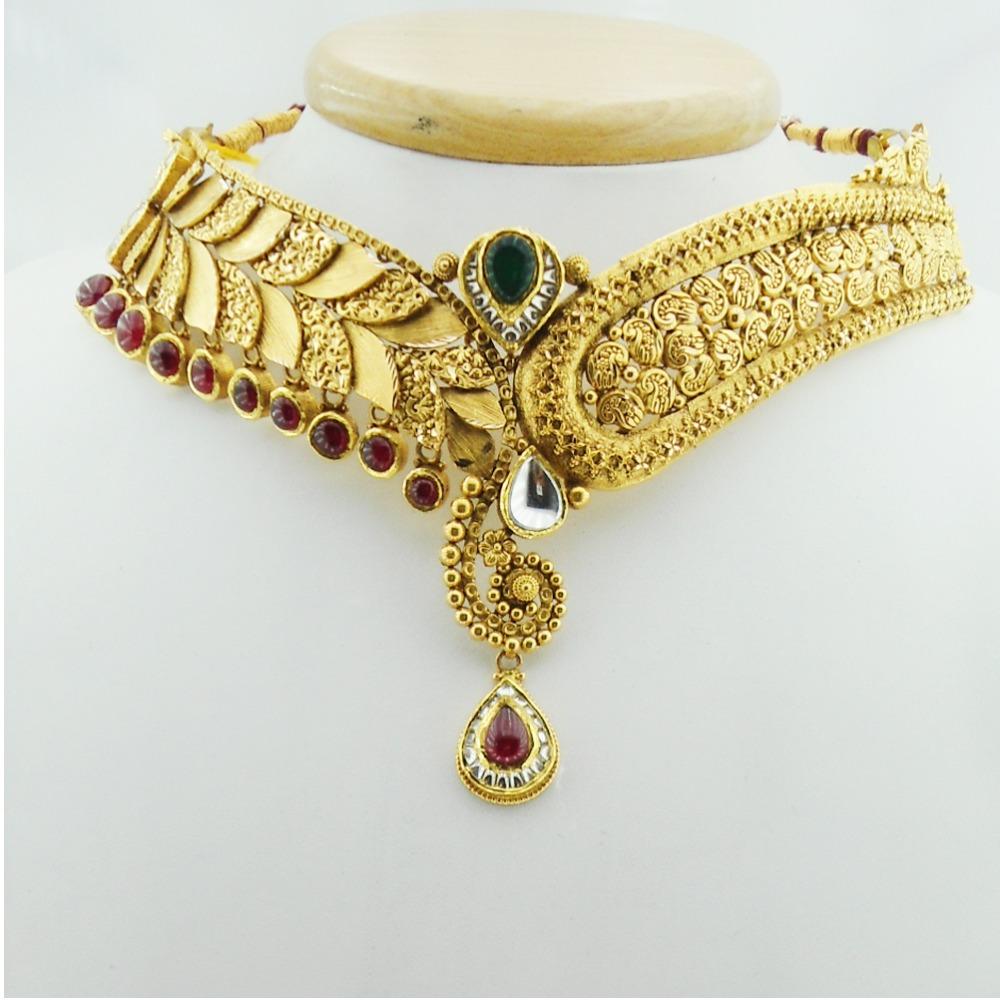 916 Gold Antique Bridal Necklace Set RHJ-3035