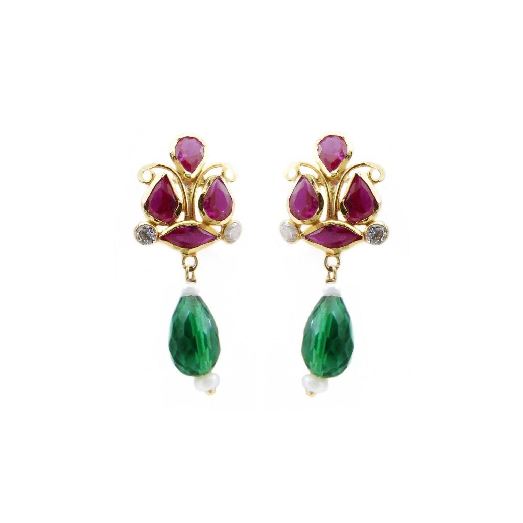 18K Gold Colour Stone Earring