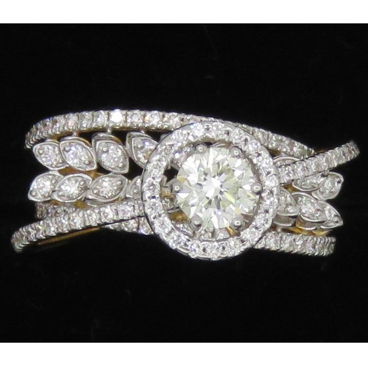 Gold Stylish Diamond Ring For Women KJ-R11