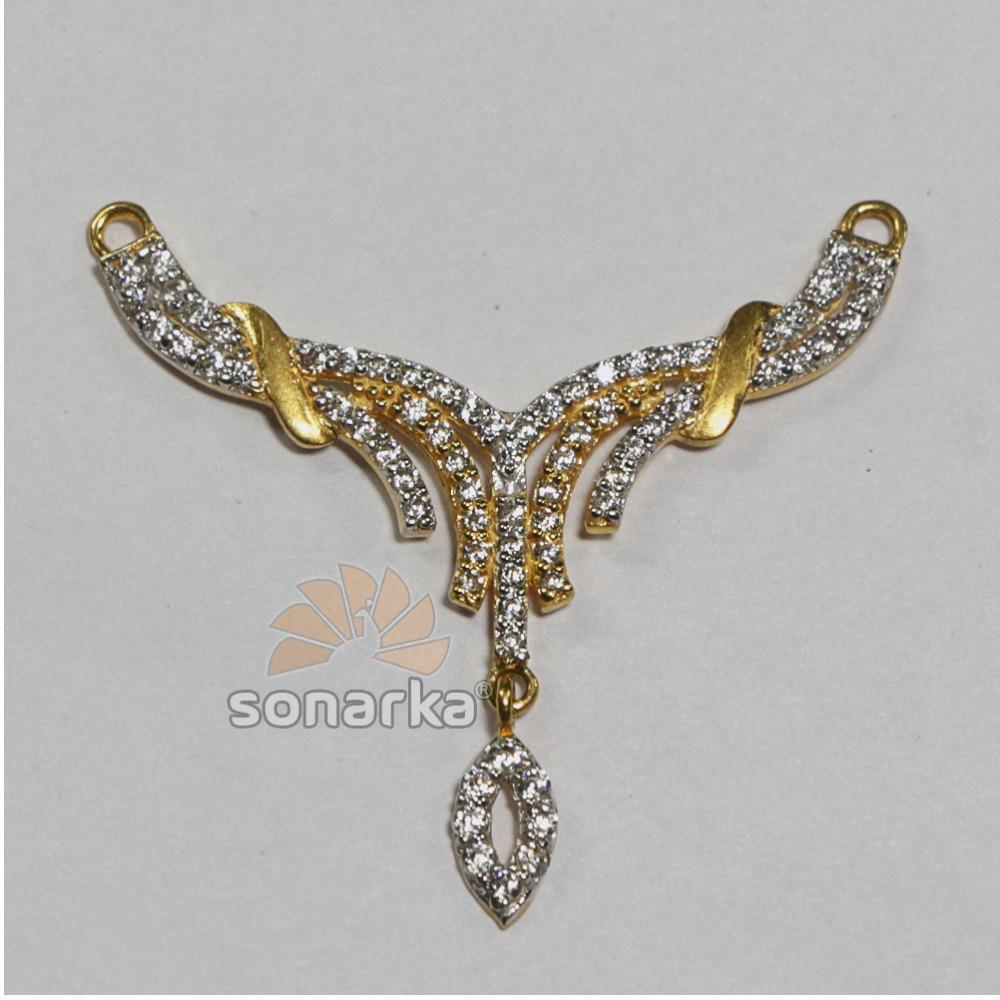 Tanmaniya Pendants 22k gold American Diamond Studded