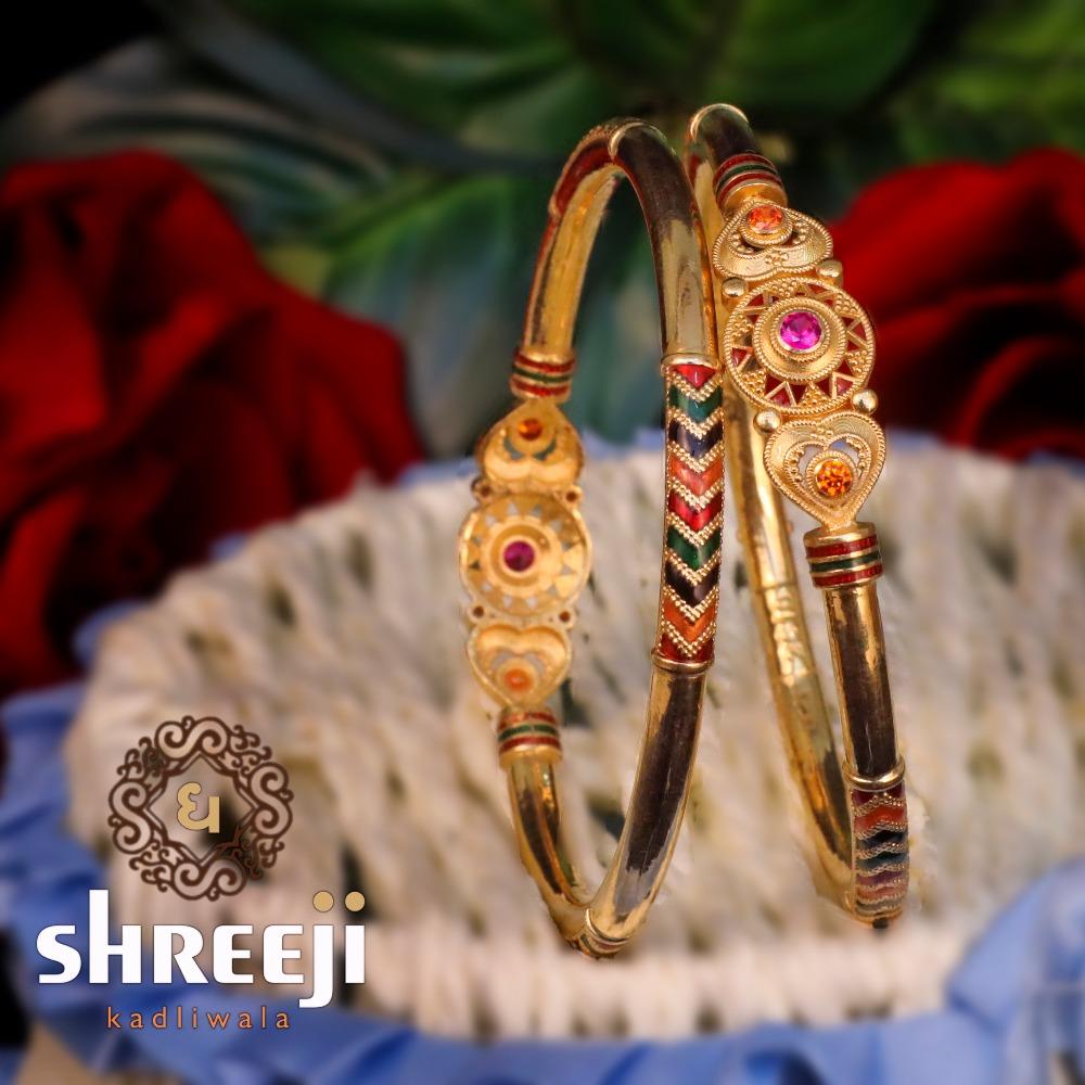 22KT Gold Antique Copper Kaldi Bangle