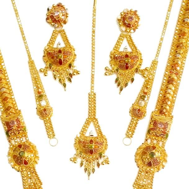 22k Fancy Designer Kolkati Long Necklace Set MGA - GLS014
