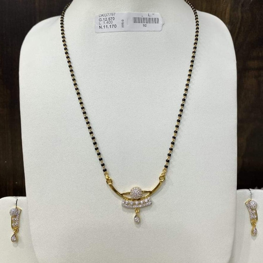 916 GOLD DIAMOND MANGALSUTRA WITH EARRING