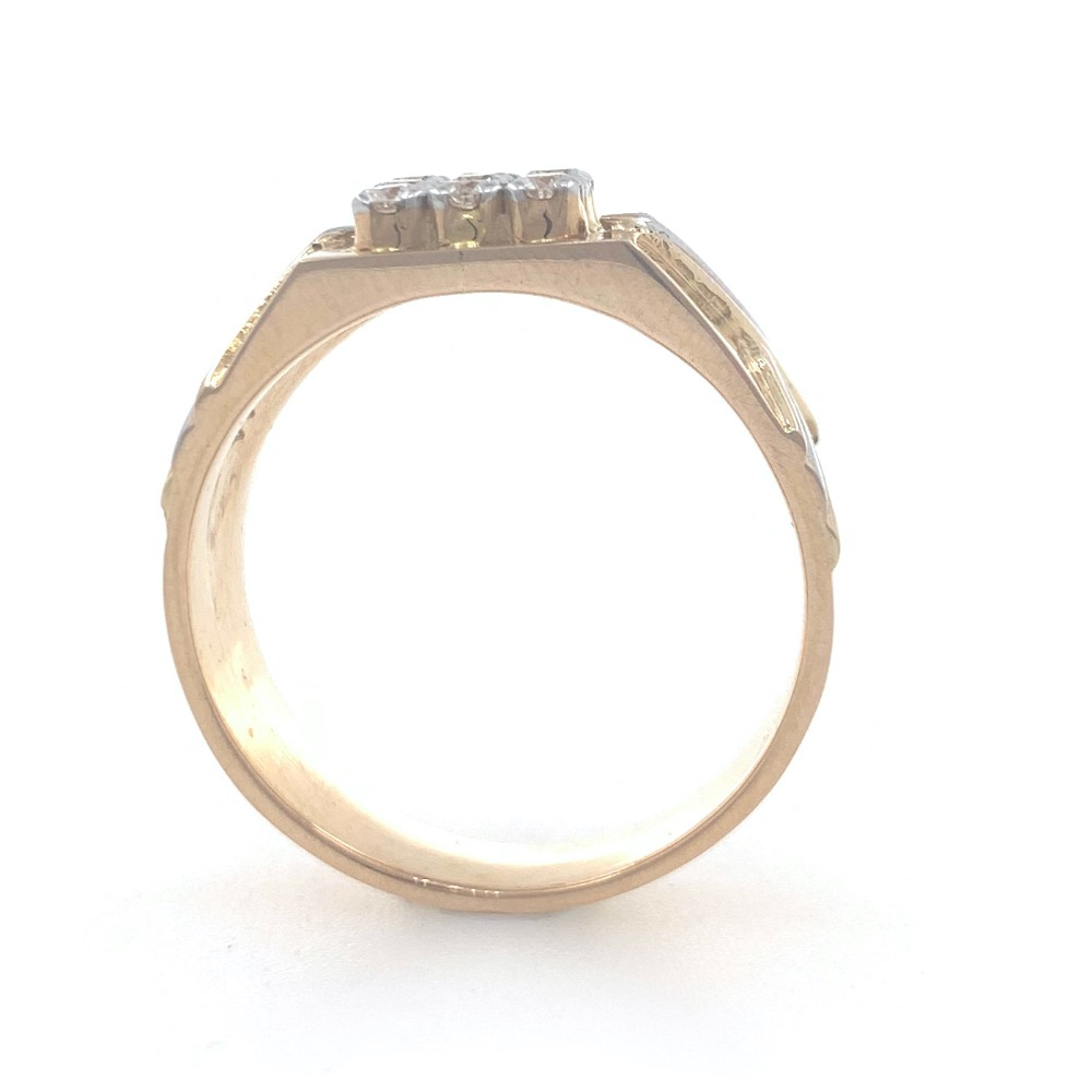 18kt / 750 rose gold fancy handmade diamond gents ring 9gr27