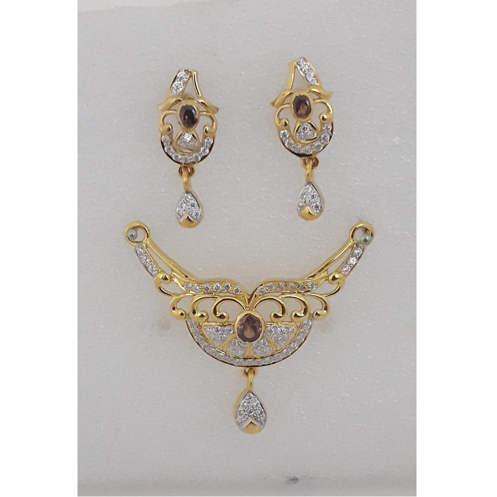 916 Gold CZ Attractive Mangalsutra Pendant Set MJ-PS007