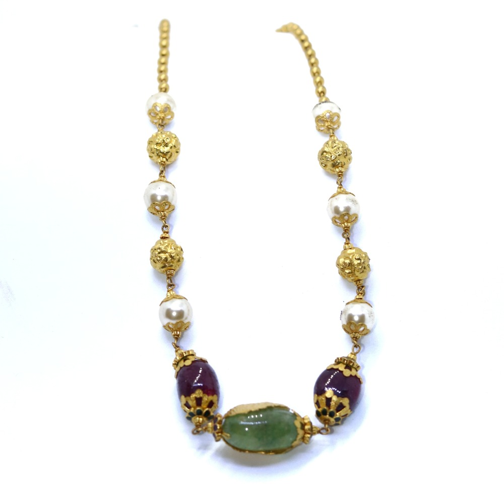 22KT / 916 Gold Motti mala With colorful stone for women CHG0030