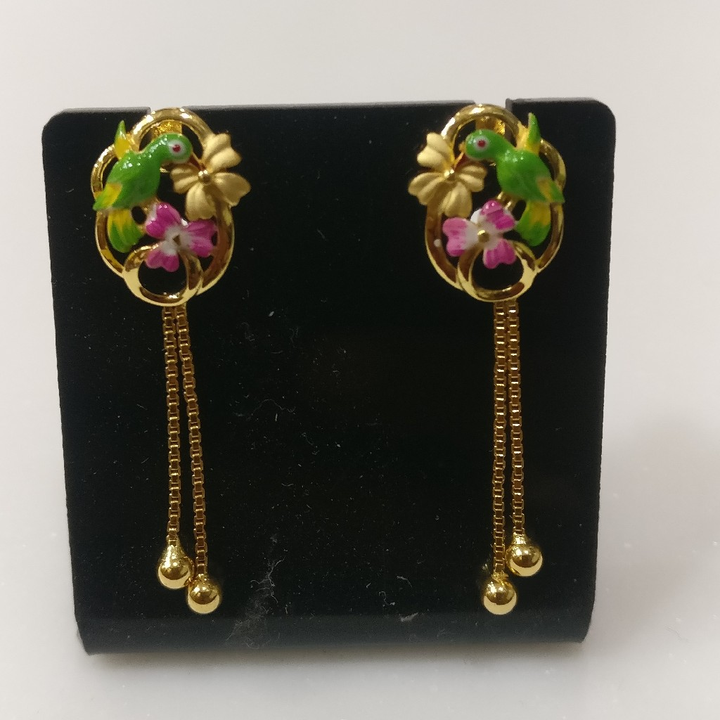 22kt gold Casting enamel parrotearrings with chain tussels
