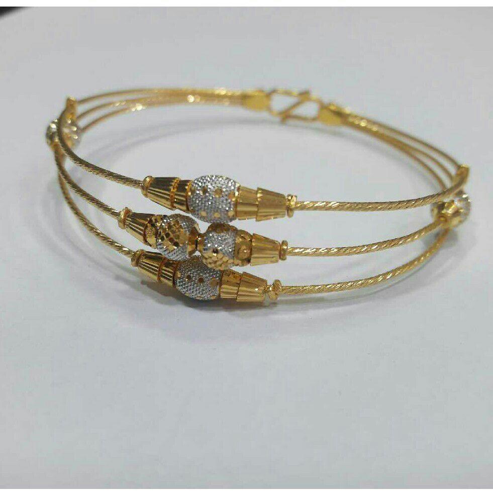 22K Gold Modern Ladies 3 Line Indian Bracelet