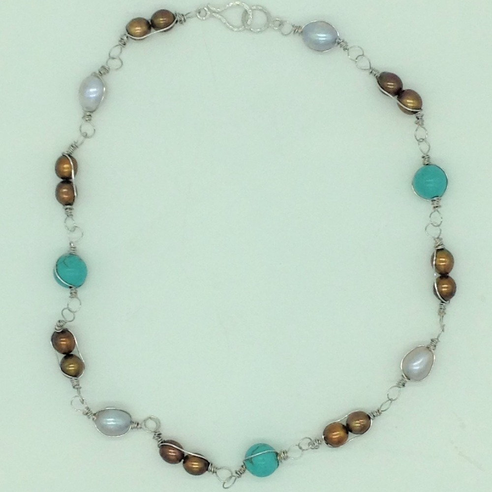 Freshwater MulticolourPearls and Turquoise Set in Wire MeshJPP1087