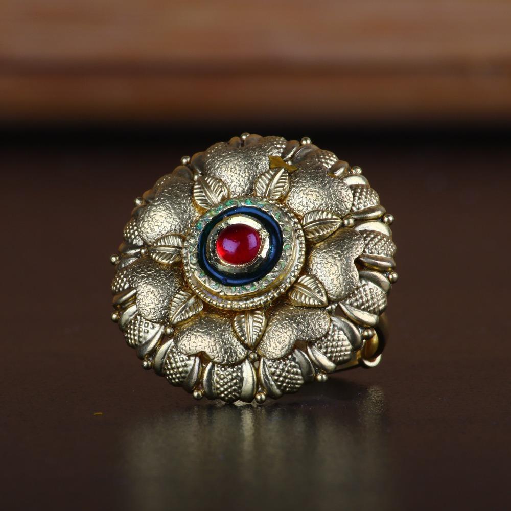 916 Gold Antique Flower Design Ring RJ-R06