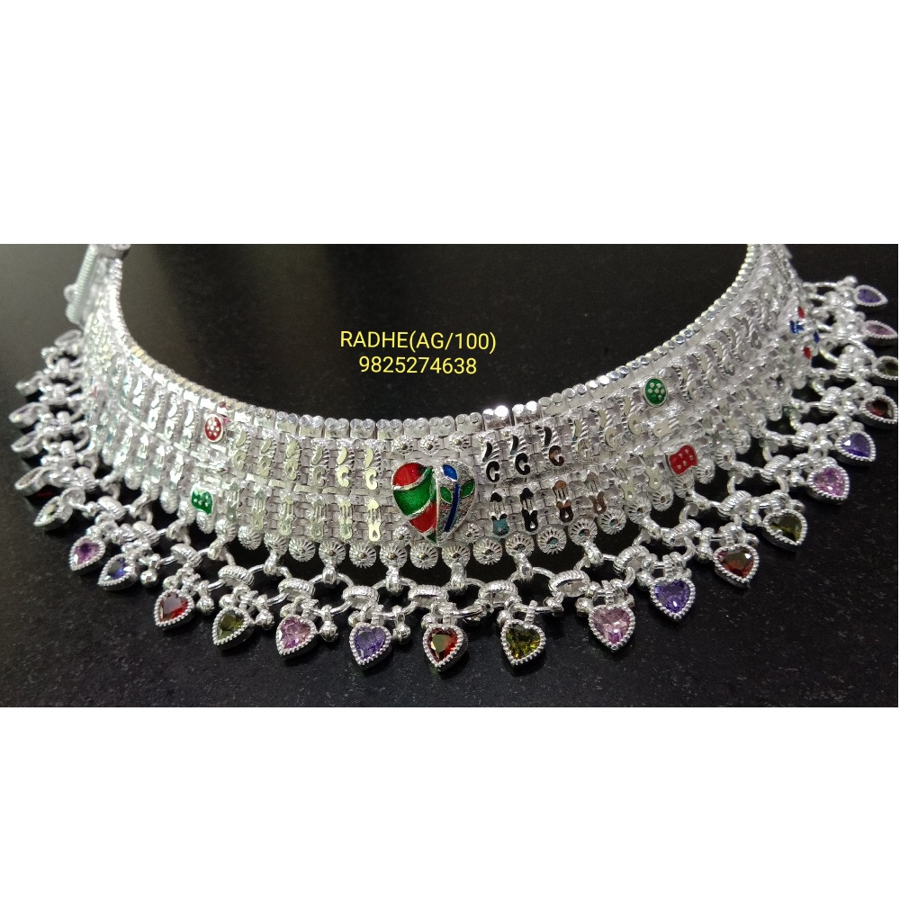 925 silver colorful broad payal rj-014