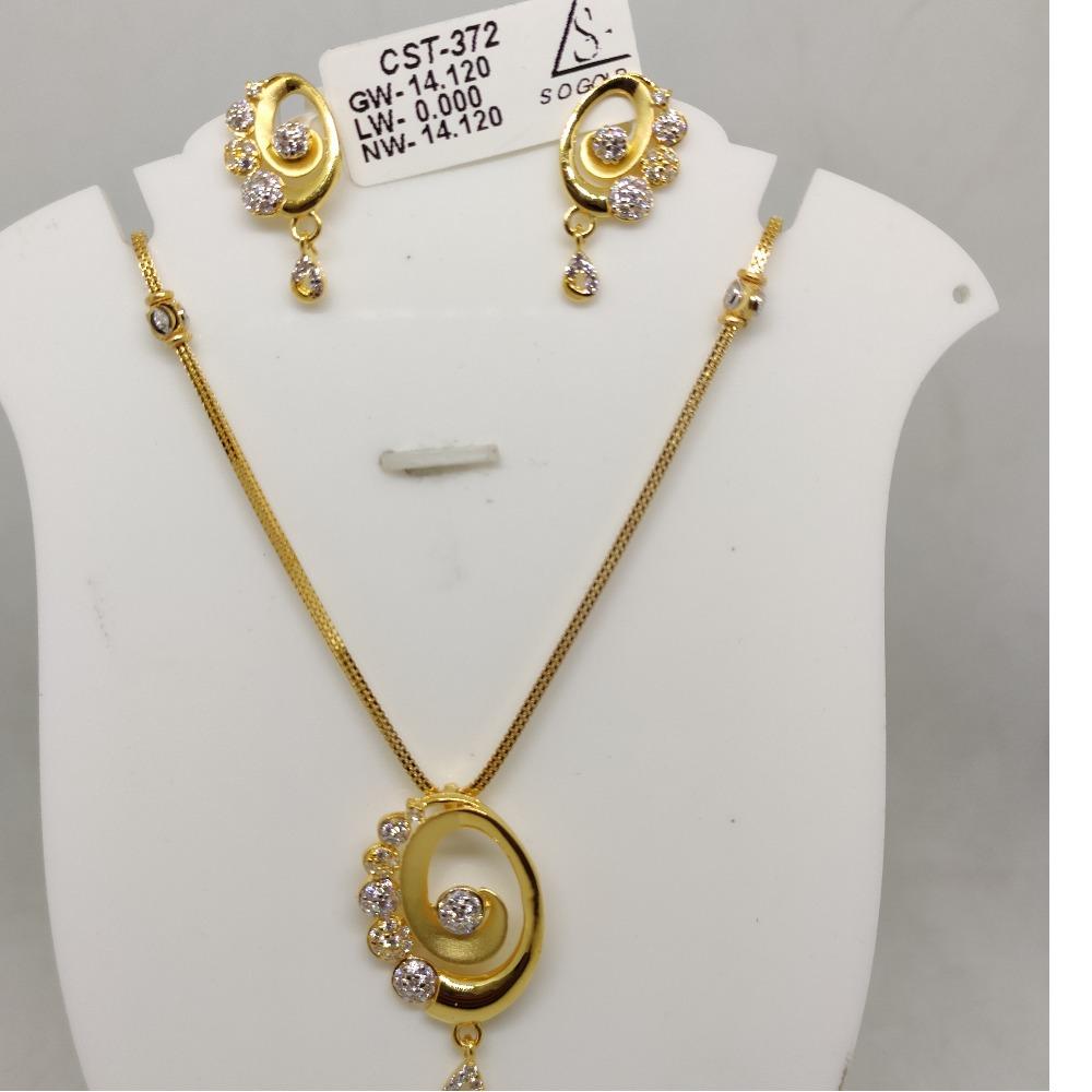 916 cZ Gold Antique Necklace set SOG-R055