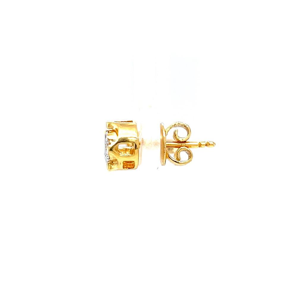 Kreis pressure set diamond studs with gold bracket