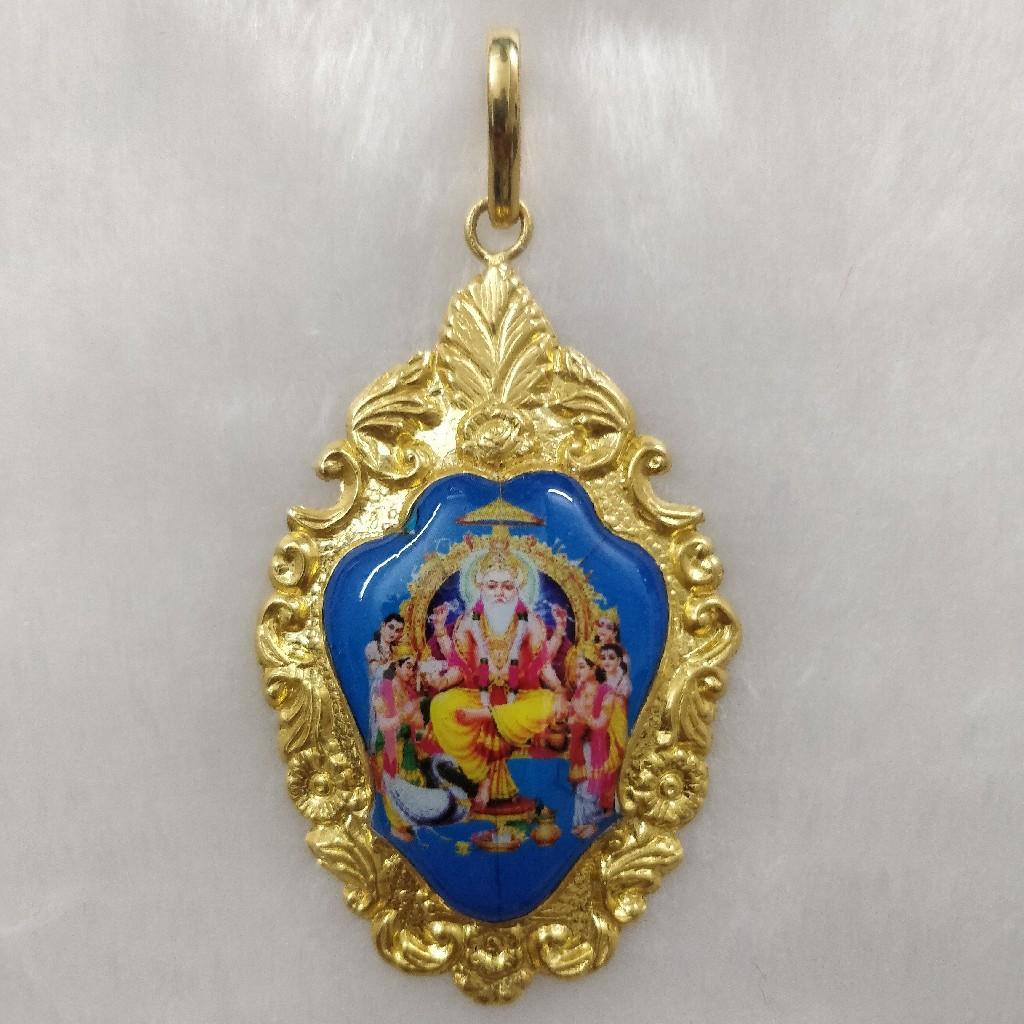 916 Gold Vishvakarma Photo Mina Pendant